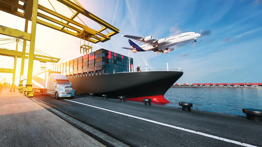 Plane trucks are flying towards the destination with the brightest. 3d rendering and illustration.